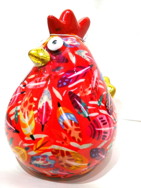Pomme Pidou Tirelire en c/éramique Poule Matilda Rouge Motif Plumes