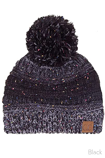 d421b6ce8d0 ScarvesMe Exclusive CC Confetti Knitted Beanie with Pom Pom (Black ...