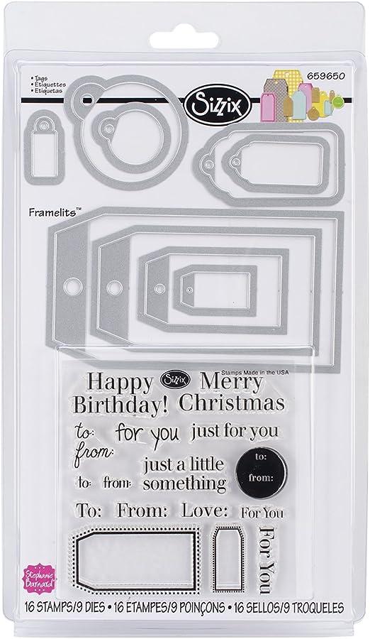 Sizzix 658701 9-Pack Framelits Stamps Word Labels Scrapbooking Die Cut by Stephanie Barnard