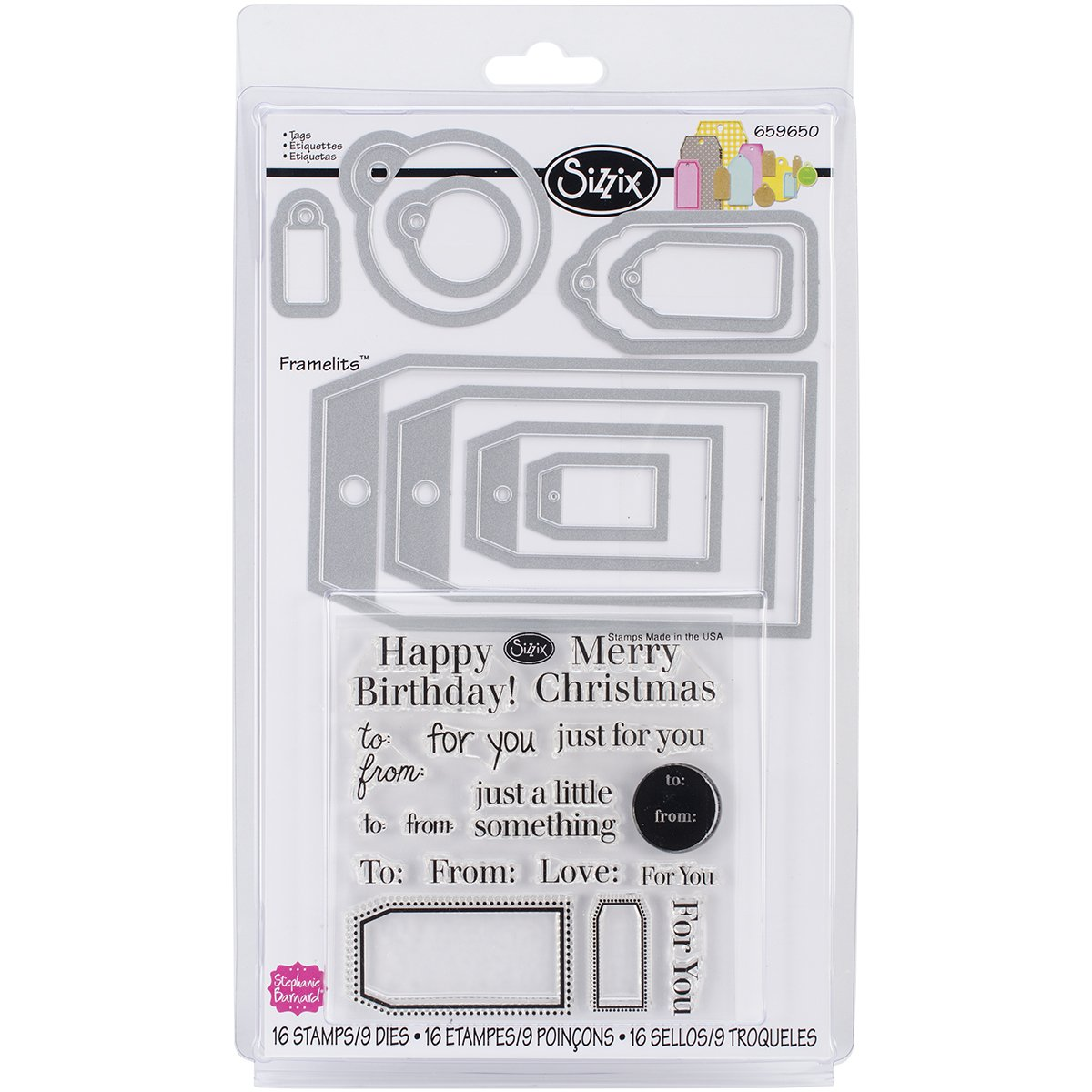 Sizzix Tags Framelits Dies with Stamps by Stephanie Barnard, 9-Pack