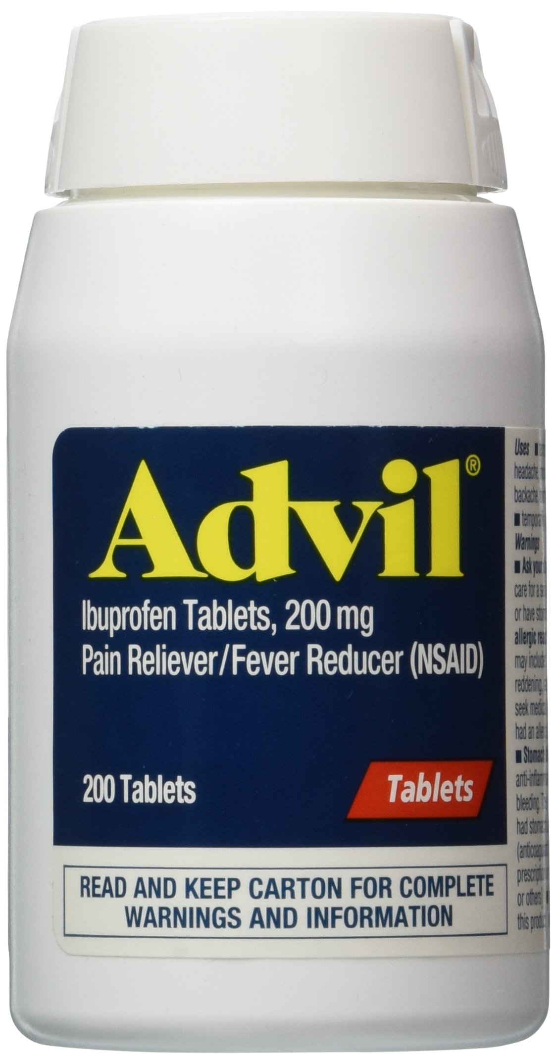 Advil 200 mg Coated Tablets 200 Count ( Pack of 12)