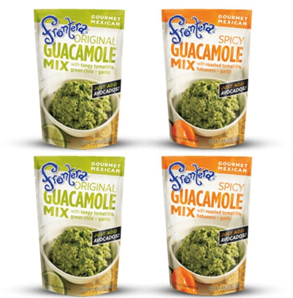 Frontera Gourmet Mexican Gluten Free Guacamole Mix 2 Flavor 4 Pouch Variety Bundle, (2) each: Original and Spicy (4.5 Ounces)