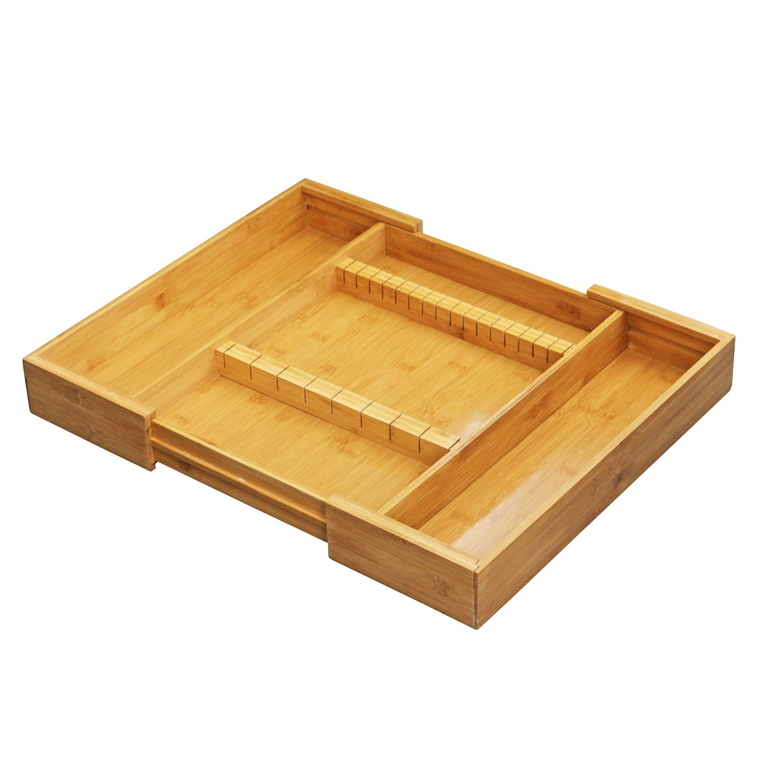 FURINNO Dapur Bamboo Expandable Drawer Organizer with Cutlery Storage, Natural
