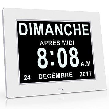 "XYEU 8"" Calendario Digital, Reloj Digital,Función de Atenuación Automática, 8 Idiomas"