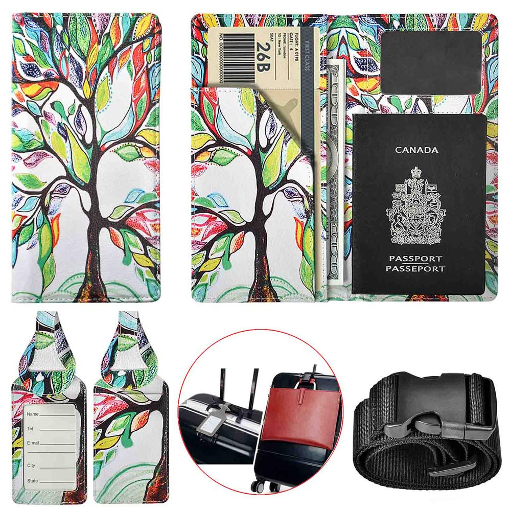 XeYOU Travel Wallet & Passport Holder Soft Leather Passport Cover Case with 2 Matching Luggage Tags and Luggage Strap (Love Tree)