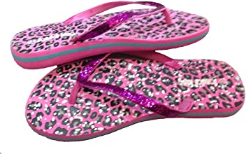 8cfd779cc8dcf Dona Michi Leather Women Casual Beach Flip Flop Thong Sandal with Cheetah  Print Glitter Straps