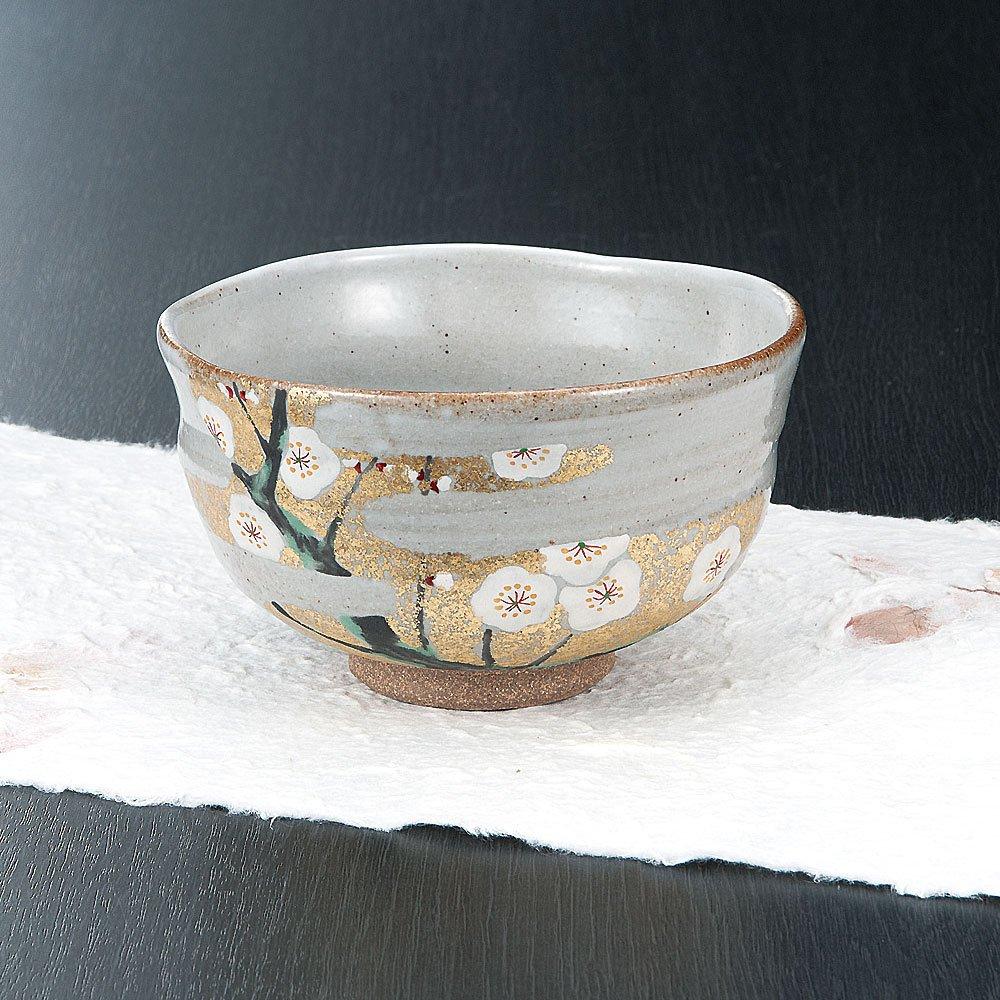 Japanese Matcha Bowl Gold Plum Kutani Yaki(ware)