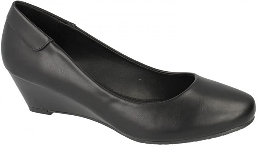 Ladies Spot On Low Wedge Court *Shoes*