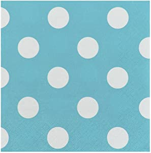 JAM PAPER Small Polka Dot Beverage Napkins - 5 x 5 - Caribbean Blue with Polka Dots - 16/Pack