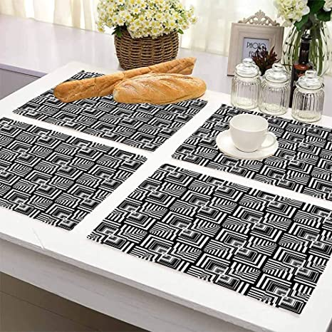 Amazon Com Dinner Table Mats Cotton Linen Pads Home Decor Black And White Geometric Op Art Pattern Unusual Checked Optical Illusion Effect Modern Easy To Clean Premium Table Mats For Dining Table Set