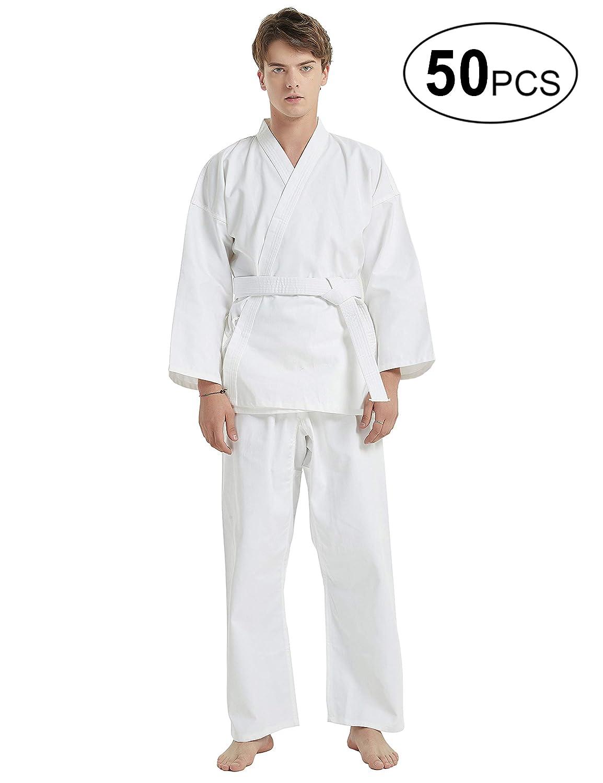 ベルトセット 学生の子供と大人のためのミドル級GiとTOPTIE 50ピース武道ホワイト空手服 ホワイト Suit Size 4