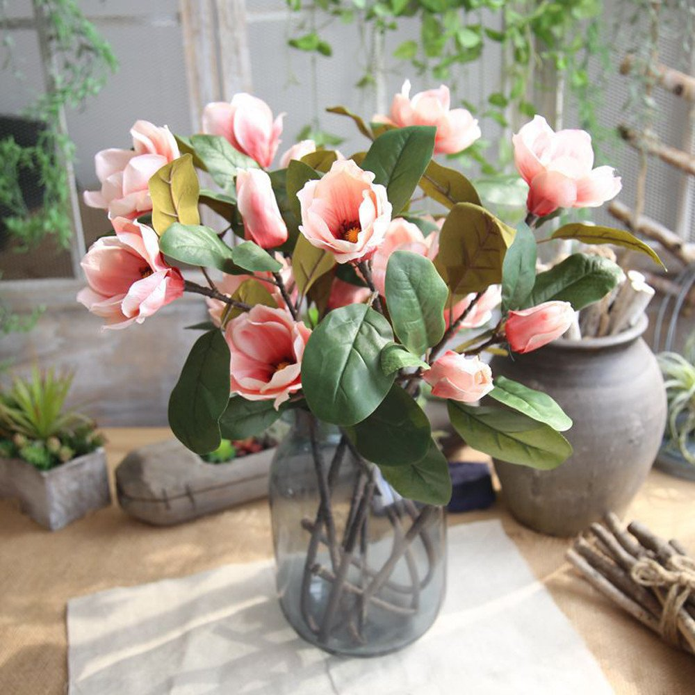 Aviat Artificial Leaf Magnolia Long Branch Flowers Arrangement Floral for Birthday Party Wedding Bouquet Garden Home Decor