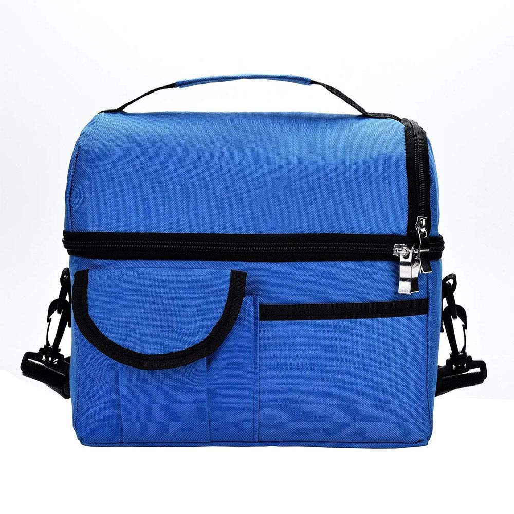 Lunch Bag Large Leakproof Insulated Lunch Box Reusable Cooler Tote Bag for Adult Women and Men Double Deck Cooler with Detachable Shoulder Strap Picnic Bags fit for Camping Travel,Beach,Meal Prep (Black) langpin