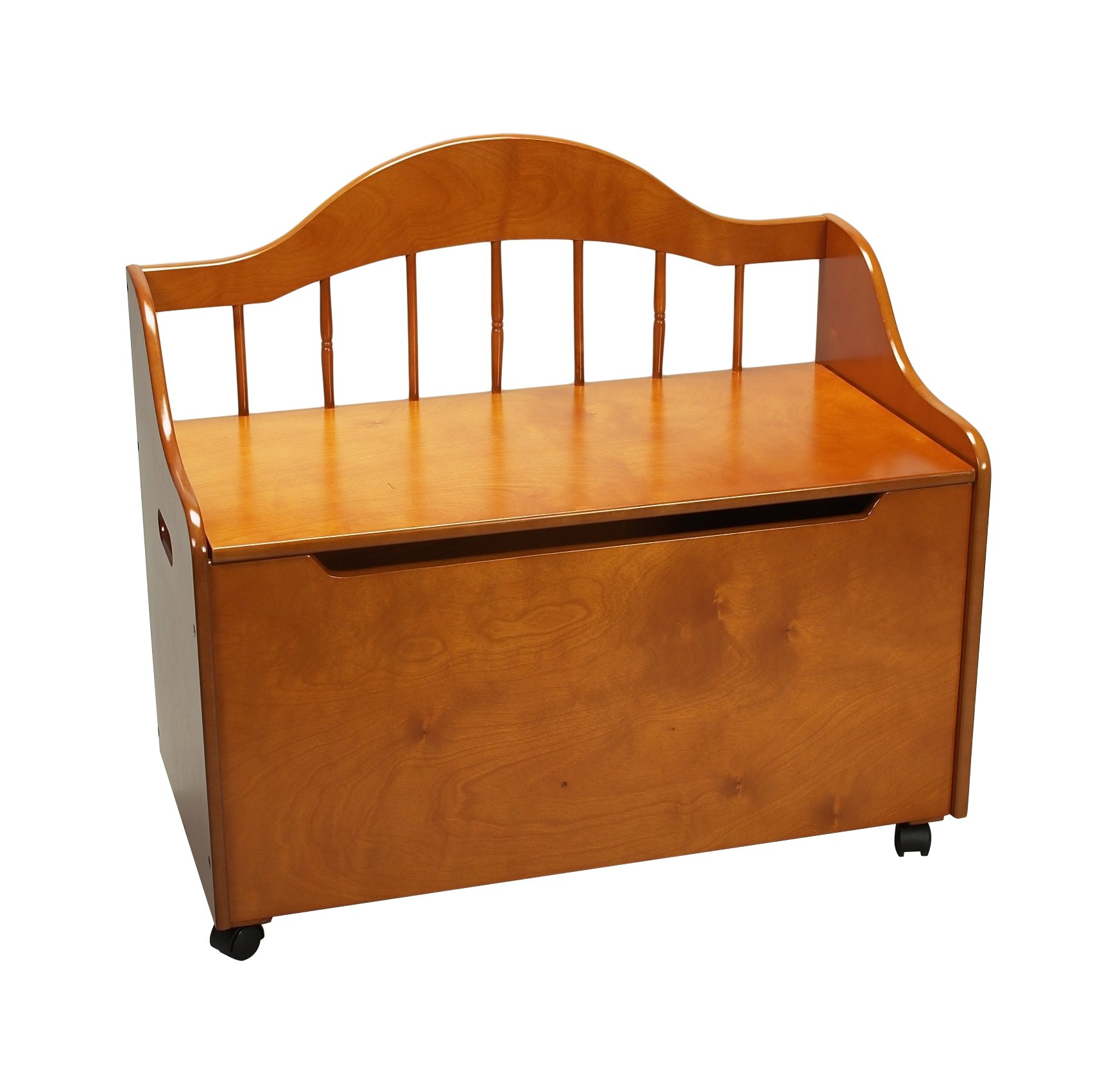 Gift Mark Honey Deacon Style Toy Box with Spindle Back and Casters, Honey