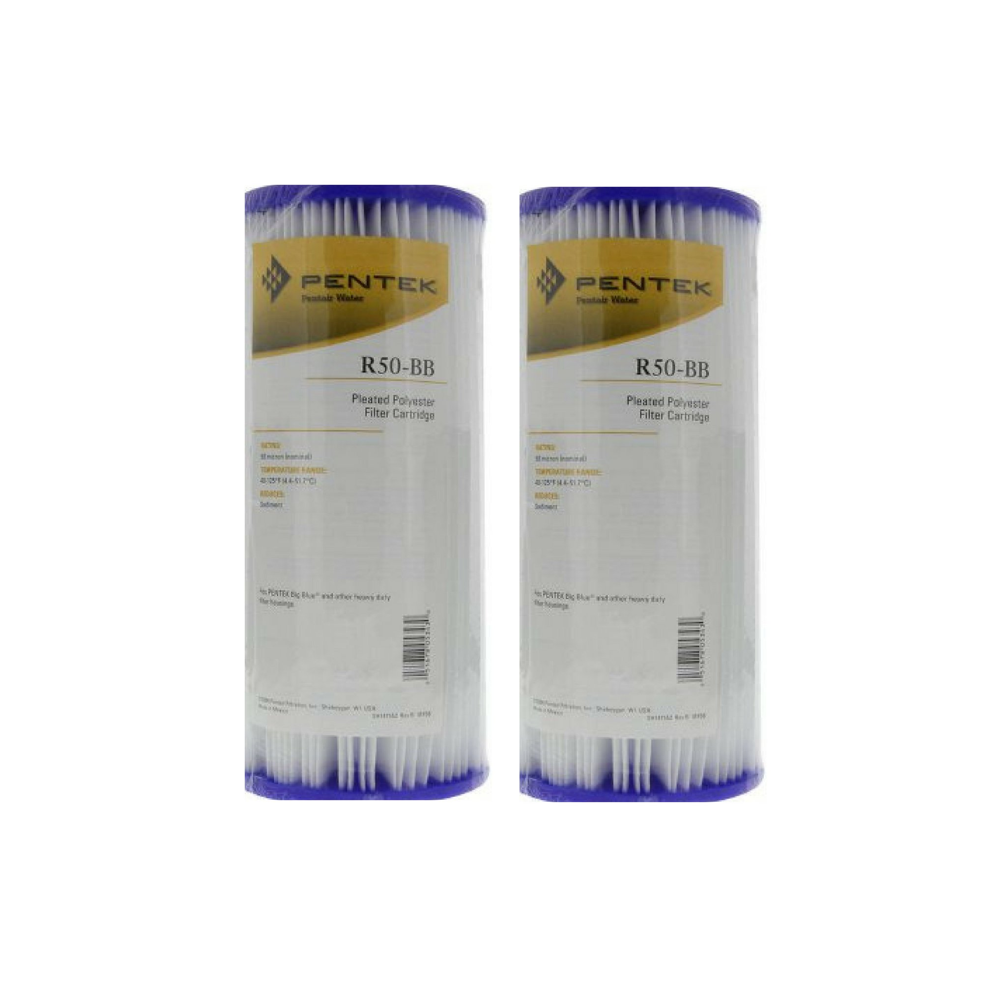 Pentek R50-BB Pleated Polyester Water Filters (9-3/4'' x 4-1/2'') - 2