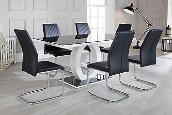 Prime Furnitureboxuk Giovani Modern Black White High Gloss Glass Dining Table Set And 6 Chairs Seats Table 6 Lorenzo Chairs Evergreenethics Interior Chair Design Evergreenethicsorg