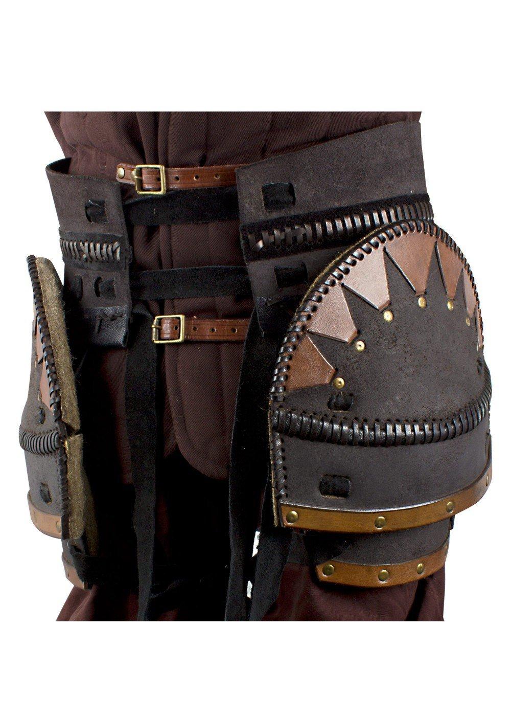 Gürtel mit Beintaschen Ork Brute, LARP-Lederrüstung Braun oder Schwarz Mittelalter Wikinger