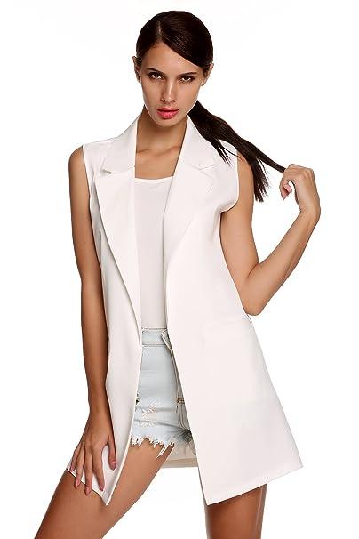 2b02f5f2d Meaneor Women s Oversized Open Longline Sleeveless Duster Blazer Jacket  Coat White XL