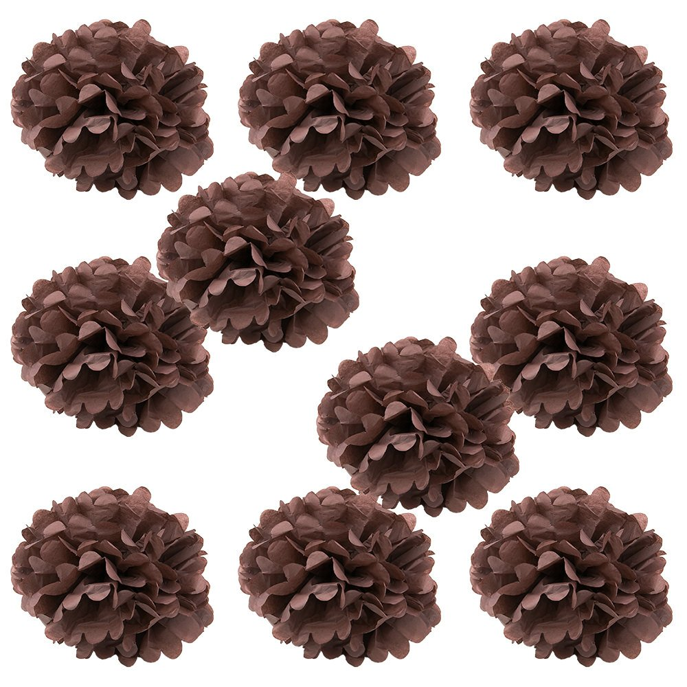 WYZworks Set of 10 - BROWN 10'' - (10 Pack) Tissue Pom Poms Flower Party Decorations for Weddings, Birthday, Bridal, Baby Showers, Nursery, Décor