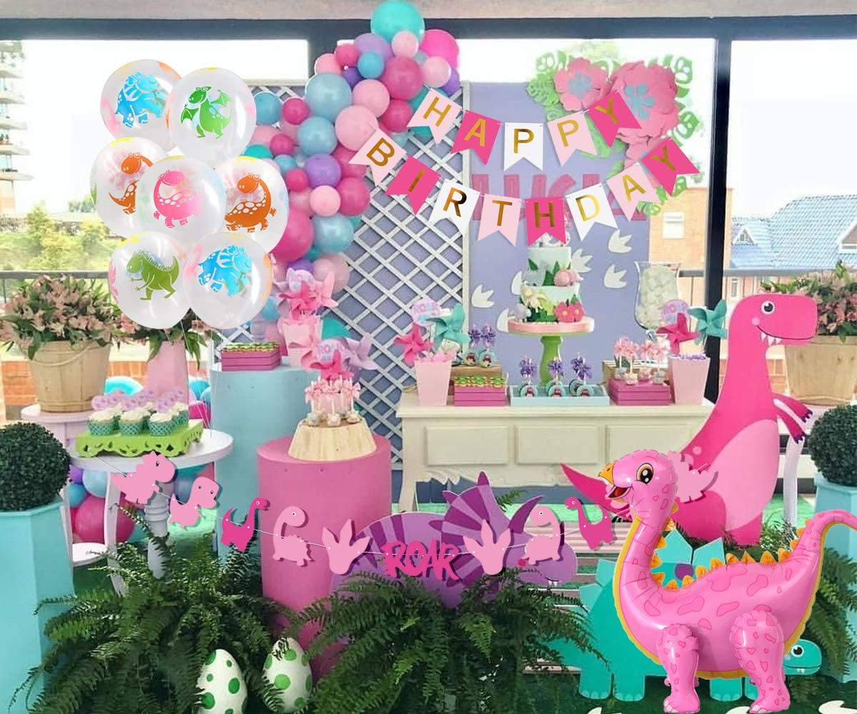 Girls Dinosaur Party Decorations Pink Dinosaur Standing Balloons Cupcake Toppers Garland Banner for Baby Girl 1st Birthday Little Dino Supplies