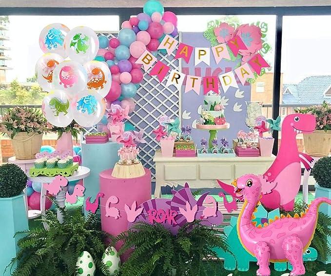 Amazon.com: Decoración de fiesta de dinosaurio rosa para ...