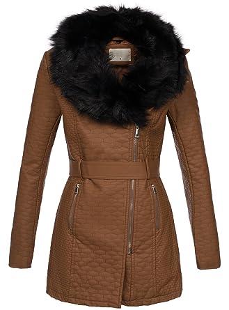 Golden Brands Selection Damen Jacke leicht gefüttert Parka Mantel Kunstleder  Fellkragen B292  Amazon.de  Bekleidung 381274d9c0