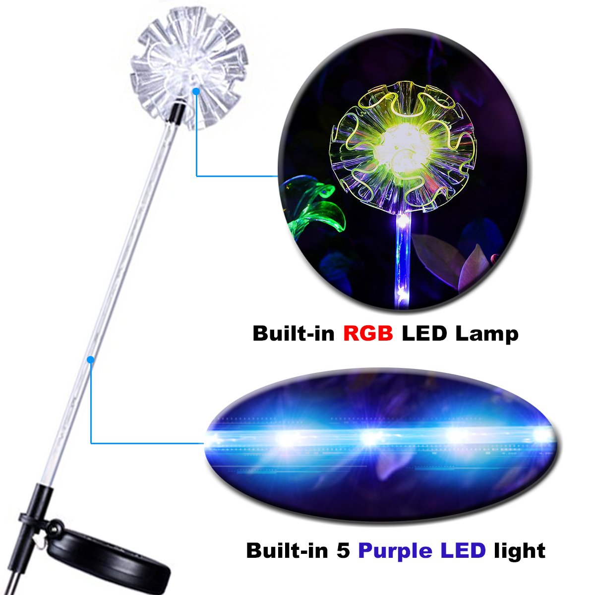 2 Colour Changing Led Stainless Steel Solar Stake Lights: 3Pack Outdoor Solar Garden Stake Lights Multi-color
