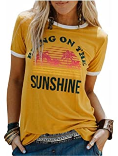 bad976eb5 Bring On The Sunshine T-Shirt Women Letter Print Graphic Tees Casual Short  Sleeve O