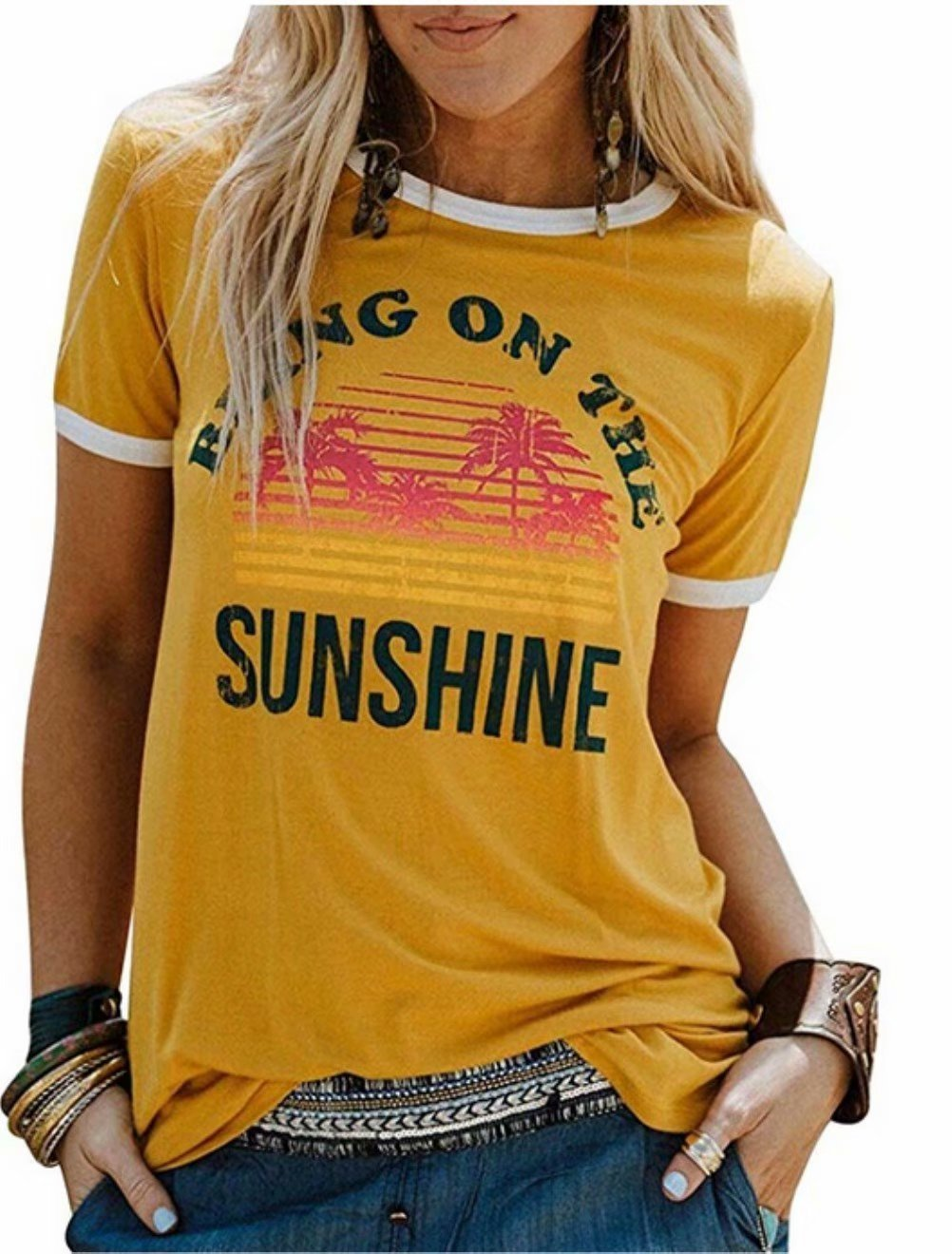 Women Bring On The Sunshine Letters Print T-Shirt Casual Graphic Short Sleeve Summer Top Tees Size XL (Yellow)