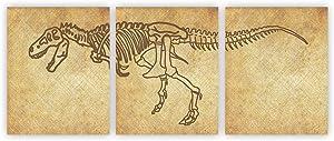 Dinosaur Bones Wall Art Dinosaur Abstract Wall Art Dinosaur Wall Décor Fossil Dino Extinct Reptile Canvas Art Boys&Girls Kids Bedroom Nursery Decor Unframed