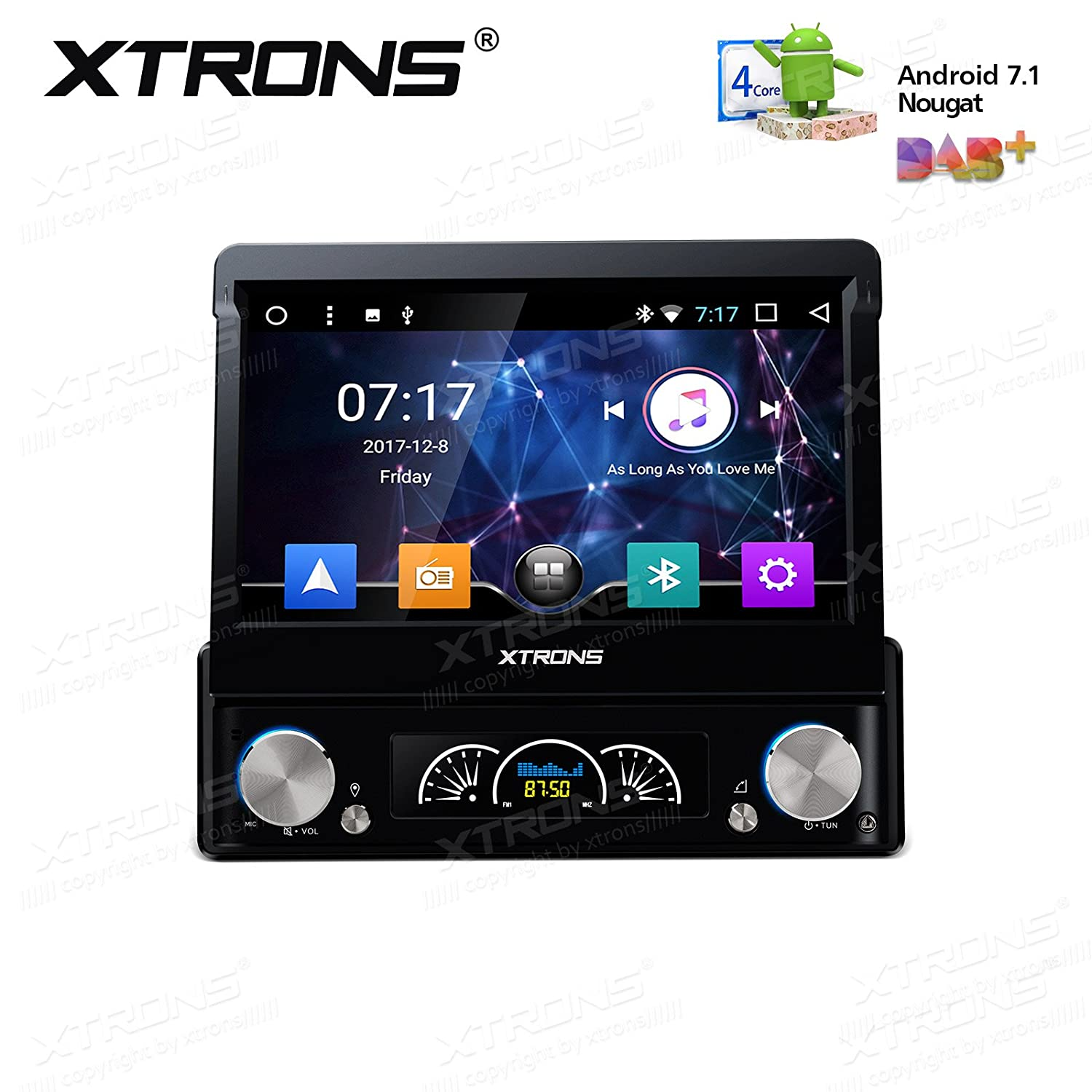 "XTRONS Single 1 Din Android 7.1 Quad Core 7"" Motorized Detachable HD Multi-Touch Screen Car Stereo in Dash DVD Player GPS Radio Screen Mirroring Function OBD2"