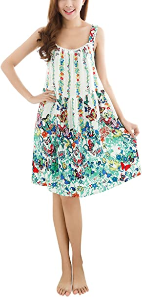 Camisón de algodón, impreso flor sin mangas longitud de la rodilla ...