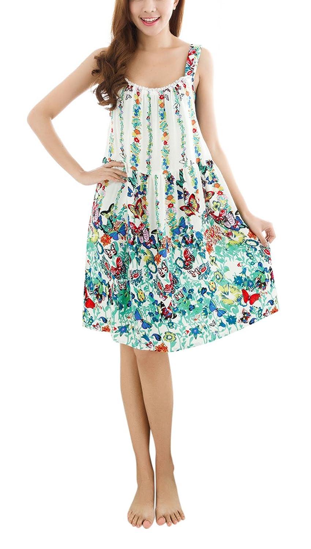 Sleeveless Nightgown Chemise Nightshirt Nightwear Sleepwear Fakeface Cotton Nightdress
