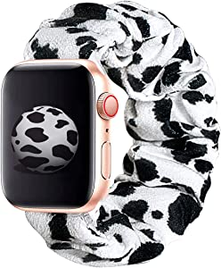 KraftyChix Cute Scrunchie Elastic Watch Band Compatible for Apple Watch, Soft and Fashion Elastic Strap Compatible with Iwatch 38mm 40mm / 42mm 44mm Series 1-4 (Cow, 38mm/40mm)