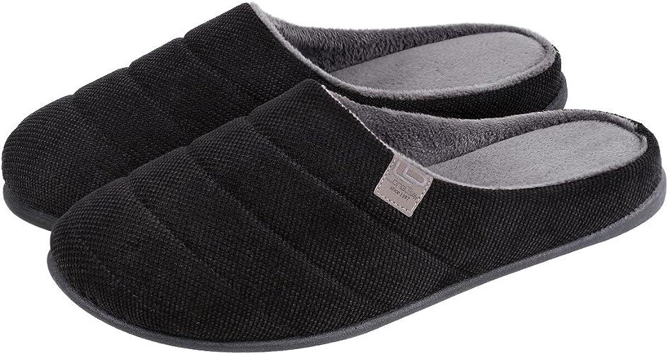 LongBay Men's Memory Foam Slippers Wool