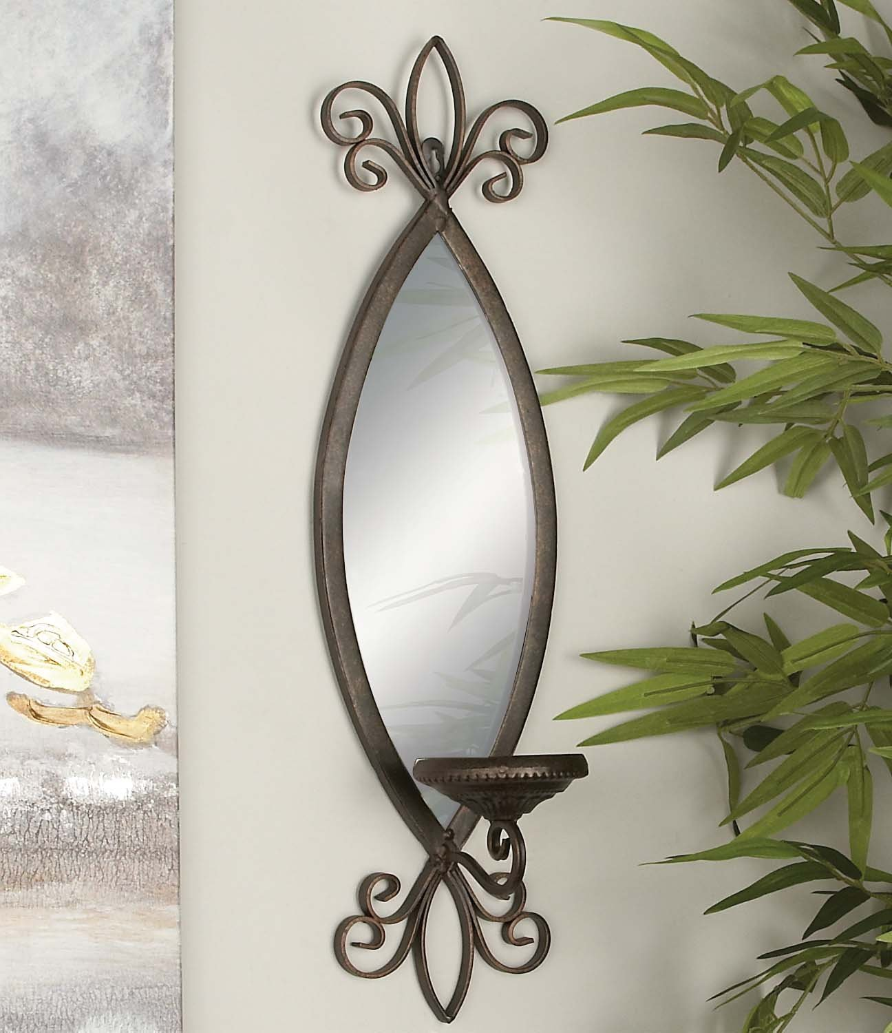 Deco 79 93739 Metal & Mirror Candle Sconce by Deco 79