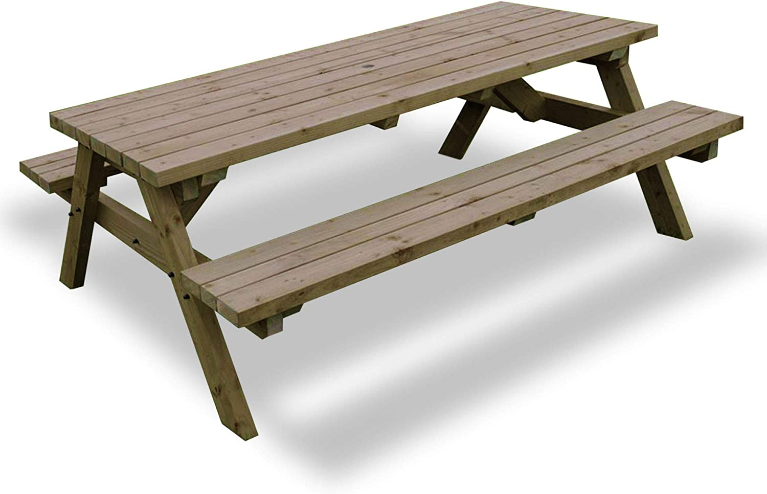 6FT WALK-IN STYLE WOODEN TABLE /& SEATS SET PICNIC TABLE HEAVY DUTY BEST QUALITY
