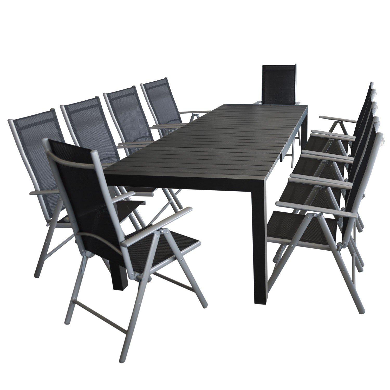 Gartengarnitur Aluminium Ausziehtisch, 205/275x100cm, Polywood Tischplatte  + 10x Alu Gartenstuhl Silber, Textilenbespannung Schwarz, Rückenlehne  7 Fach ...