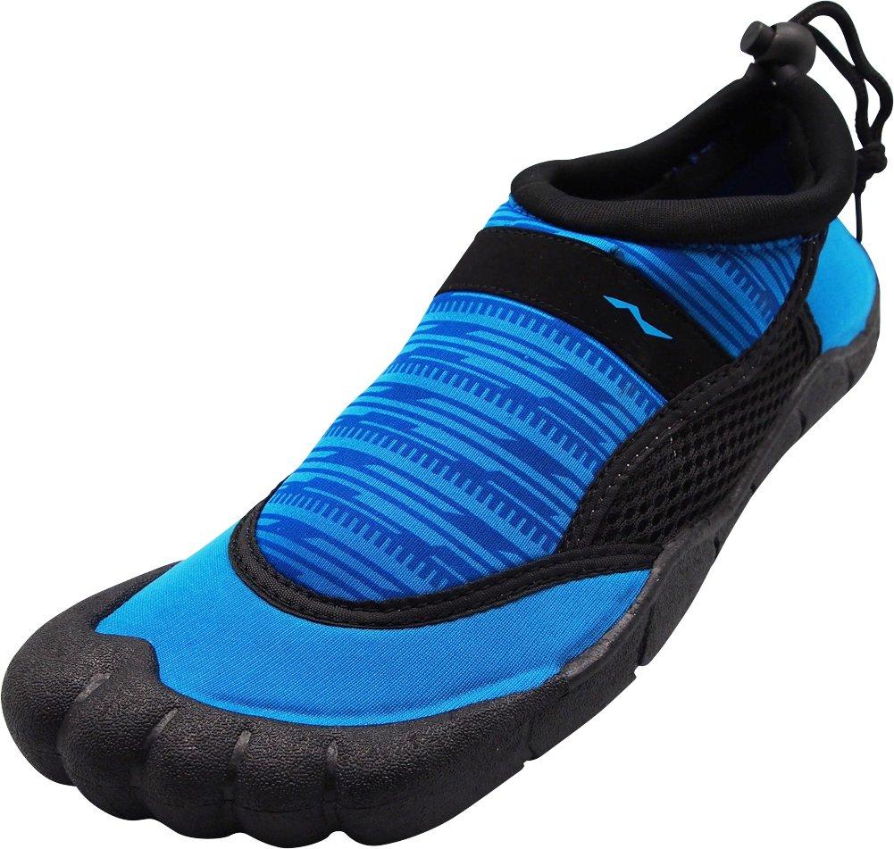 NORTY - Mens Skeletoe Techno Print Aqua Water Shoes for Pool Beach, Surf, Snorkeling, Exercise Slip on Sock, Royal, Black 40360-10D(M) US