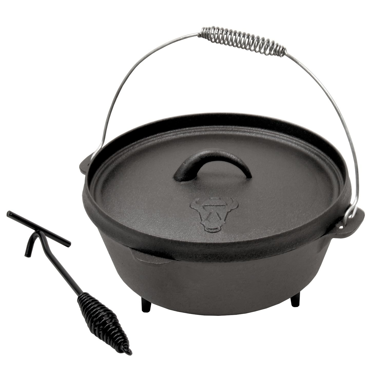 Dutch Oven DO6 Cast Iron Camping Cooking Pot Pre-seasoned CS-Trading