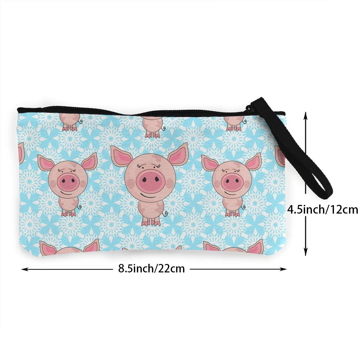 Snowflakes And Pigs Pattern Canvas Change Coin Purse Small Cute Change Cash Bag With Zip