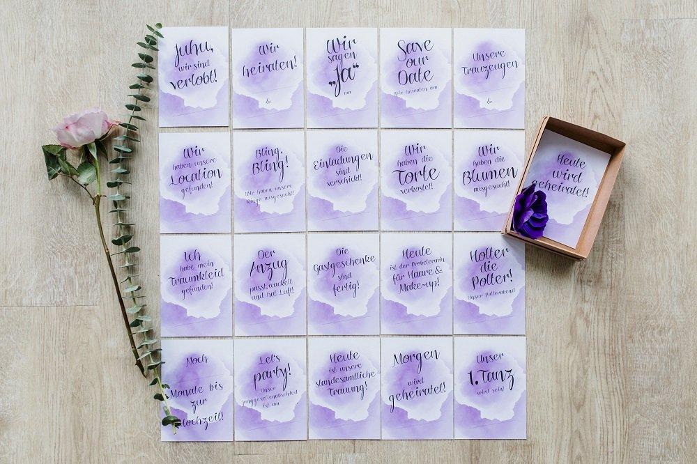 20 Meilen Stein Karten Violett Dreams Zur Hochzeit Hochzeits