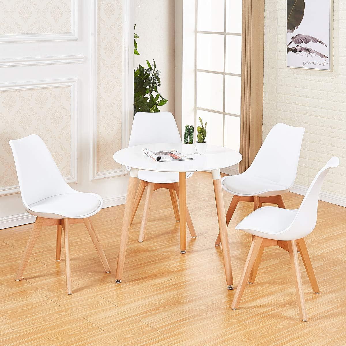 DORAFAIR Pack de 4 Sillas & Mesa, Juego de sillas de Comedor,Comedor de diseño nórdico, Color Blanco: Amazon.es: Hogar