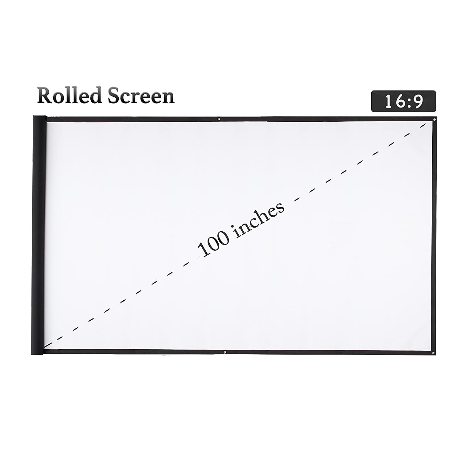 Varmax Video Projector Screen 100 inch Portable Rolled Package, Anti-Crease White Projection Movie Screen for Home Movie Night and Powerpoint Presentation 16:9