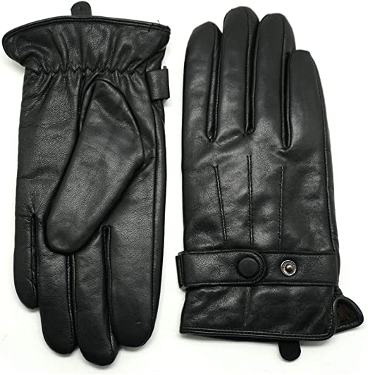 Men/'s Classy 100/% Leather Winter Gloves w// Warm Wool Lined Warm Black Motorcycle