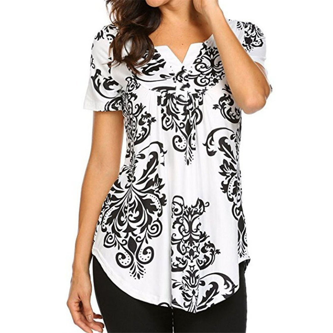 Mose Floral Blouses for Women, Womens Holiday V-Neck Print Tops Short Sleeve Pleated Casual Flare Tunic Blouse Fashion Shirt New (S, Black)