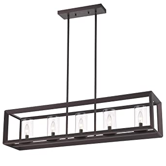 Emliviar 5 Light Kitchen Island Lighting Modern Domestic Linear
