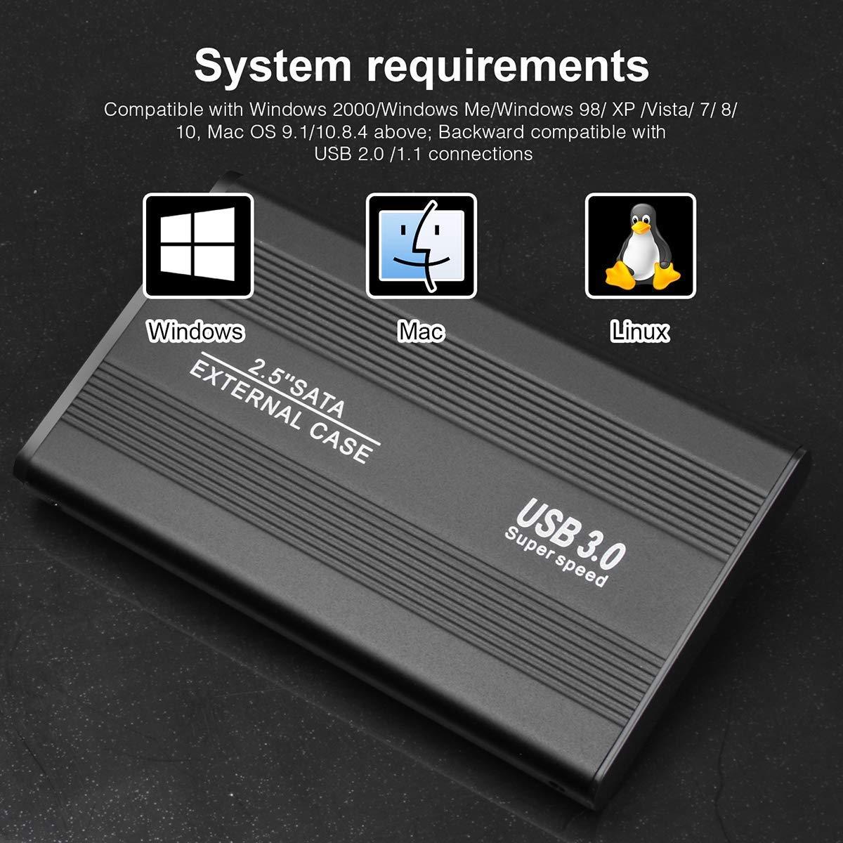 Ordinateur de Bureau MacBook ASUME Disque Dur Externe pour Mac Ordinateur Portable PC Xbox 360 1 to, Noir Xbox One PS4 Chromebook
