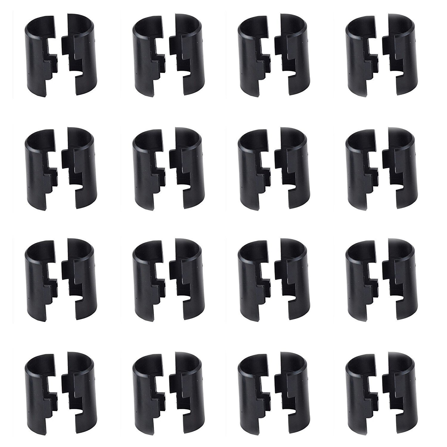 TeeGoo Wire Shelving Shelf Lock Clips for 1'' Post, Shelving Sleeves, Plastic, Black (16 Pairs)
