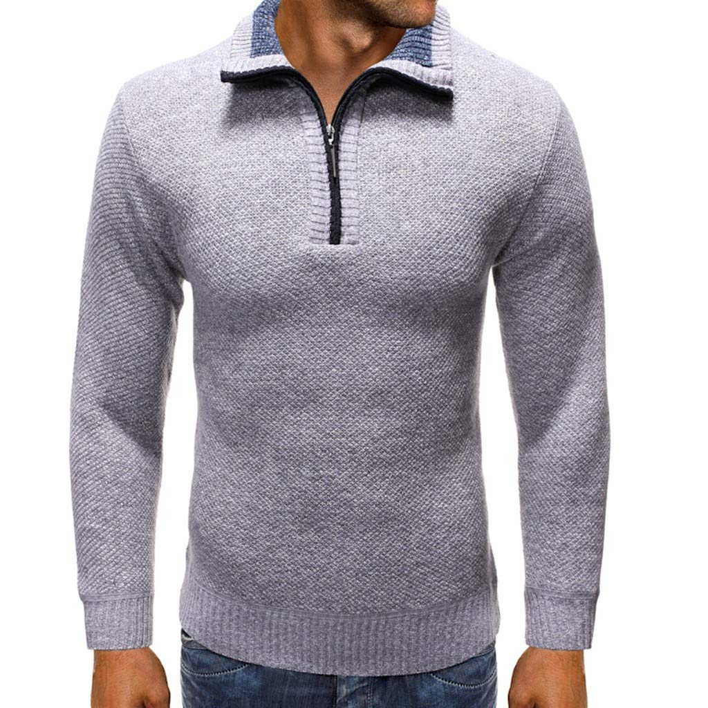 Beppter Mens Slim Fit Zip Up Polo Sweater Casual Long Sleeve Sweater Pullover Jacket(Grey,US Size L = Tag XL) by Beppter